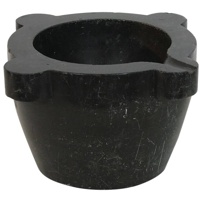 19th Century French Black Marble Mortar For Sale
