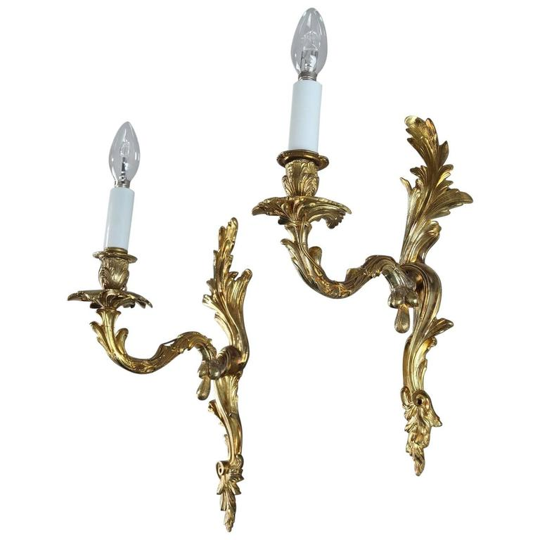 Pair of Late 19th Century Gilt Bronze Sconces in Louis XV Style