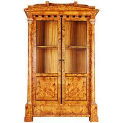 20th Century Large Display Cabinet in Biedermeier Style Beechwood Root Veneer