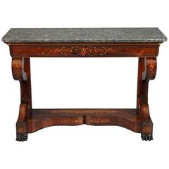 19th Century Charles X Marquetry Inlaid Console