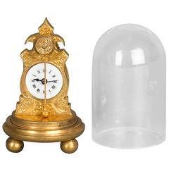Very Small and Unusual Austrian Zappler Miniature Clock, circa 1860