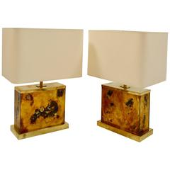 Pair of 1970s Brass and Gold Leaf Glass Lamps