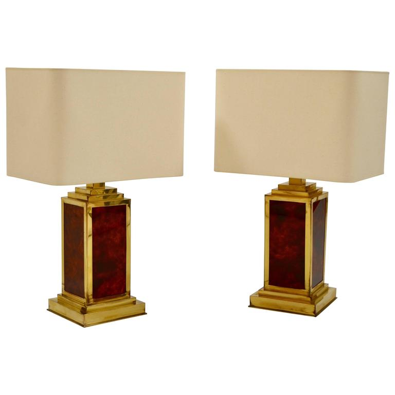Pair of 1970s Brass and Lucite French Lamps