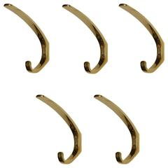 Five Austrian Brass Wall Hooks by Hertha Baller in the Carl Auböck Style