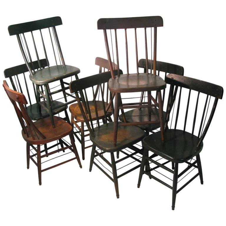 Set Of Eight Late 19th Century American Farmhouse Primitive Chairs 1