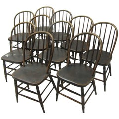 Classic Set of Ten Primitive Windsor Bow Back Chairs