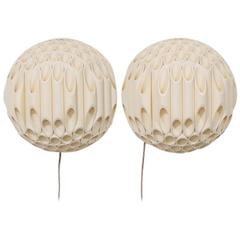 Exceptional Pair of Spherical Wall Sconce by Rougier Canada, 1970s