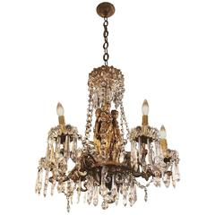 Empire Style Bronze and Crystal Figural Six-Arm Chandelier with Three Maidens
