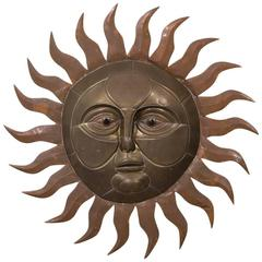 Sergio Bustamante Brass and Copper Sun Wall Sculpture, 1970s