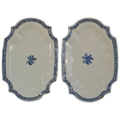 Pair of Late 18th Century, French Faience Earthenware Rouen Serving Platters