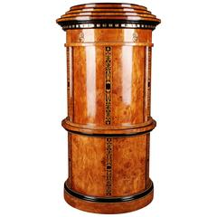 20th Century Cylindrical Secretaire in Viennese Biedermeier Style Maple Veneer