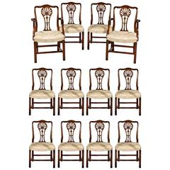 Set of Twelve High Quality Carved Mahogany Reproduction Dining Chairs
