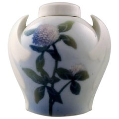Art Nouveau Vase in Porcelain, B & G, Bing & Grondahl, Decorated with Flowers