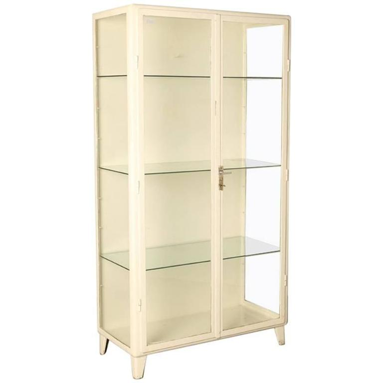 white steel antique doctors apothecary cabinet for sale at