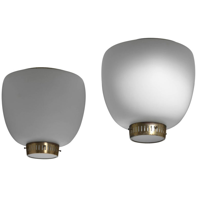 Bent Karlby Pair of Opaline Glass and Brass Flush Mounts, Denmark