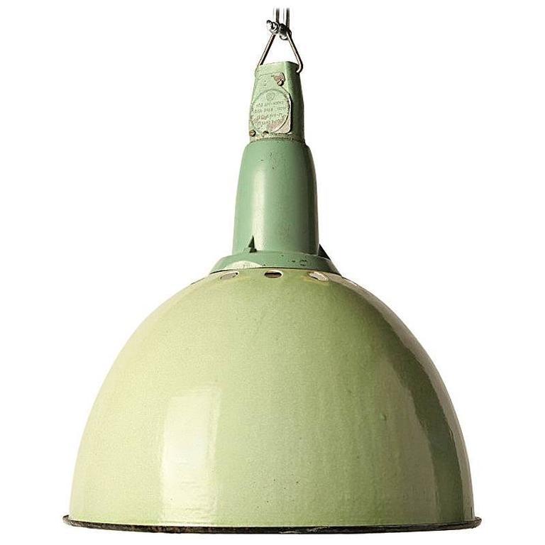 Industrial Pendant Light Green: Industrial CCCP Green Enamel Pendant Light For Sale At 1stdibs
