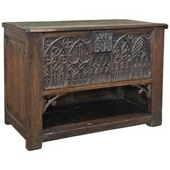 18th Century French Gothic Handcarved Oak Trunk