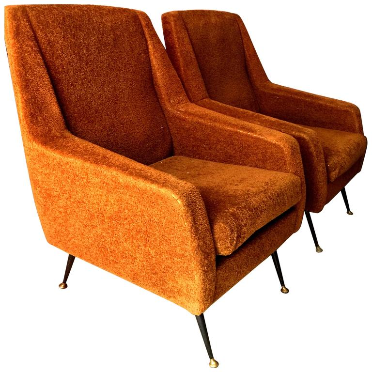 Pair of 1960s Italian Sofa Armchairs in the Manner of Gio Ponti