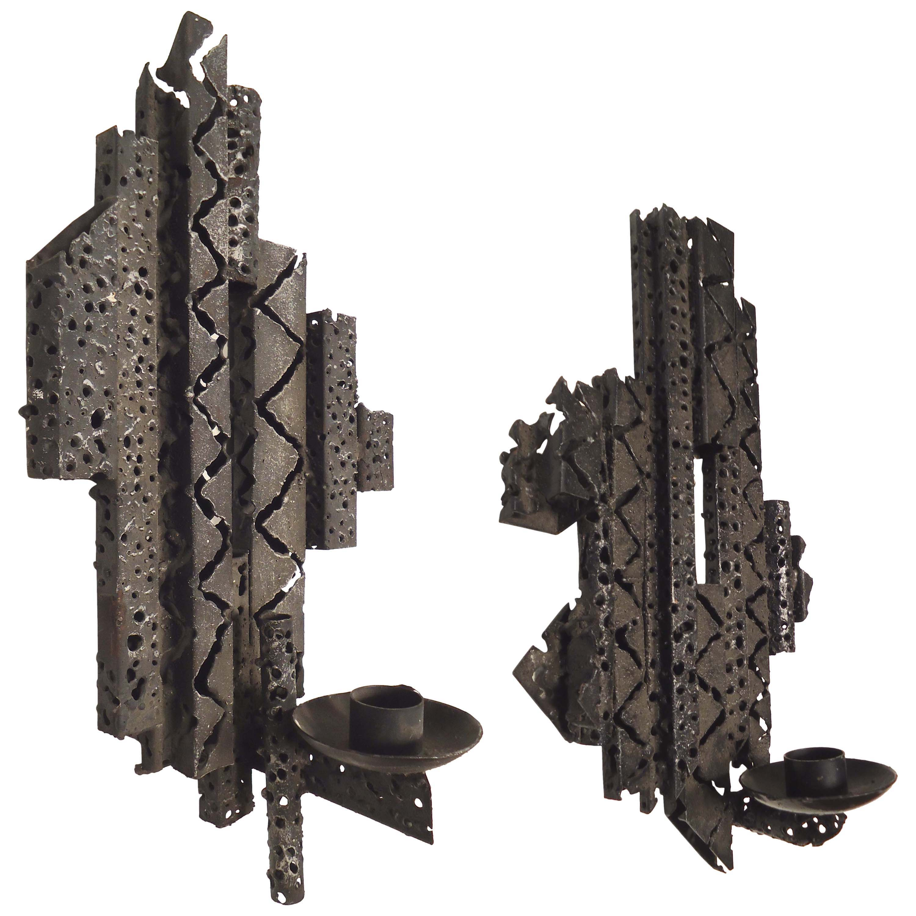 Brutalist Style Wall-Mounted Candleholders
