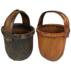 Pair of Antique Japanese Gathering Baskets