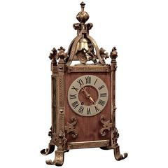 Antique Gothic Revival Bronze and Wood Mantel Clock