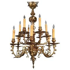 Antique Twelve-Light Neo-Renaissance Gilt Bronze Chandelier