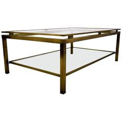 Sophisticated Brass Coffee Table by Guy Lefevre for Maison Jansen, 1970s