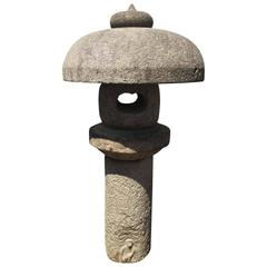 "Japan Antique Granite Stone Lantern Mushroom Top with ""Monkey"", 19th Century"