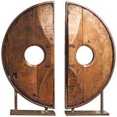Spanish 19th Century Elm and Iron Wheel as Sculptural Expression