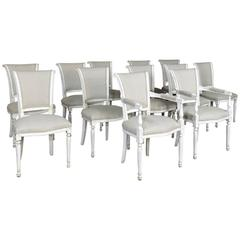 Set of 12 Antique Painted French Directoire Chairs