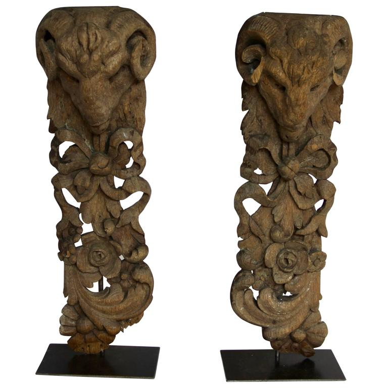 Pair of Antique Hand Carved Architectural Elements with Ram's Head