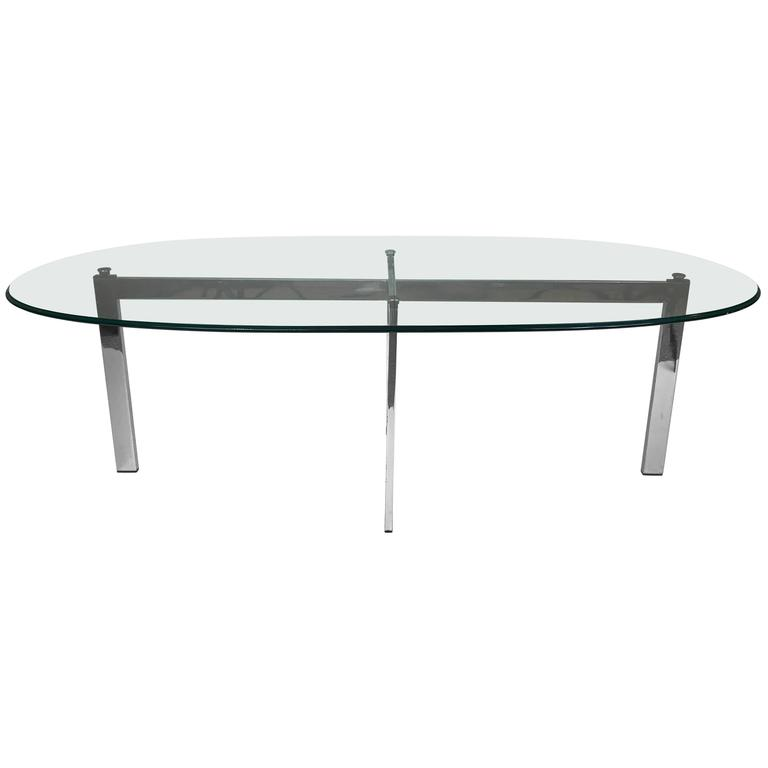 Chrome and Glass Cocktail Table