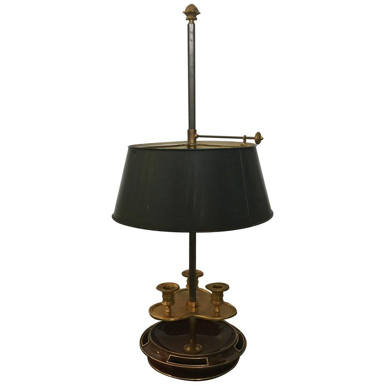 Louis XVI Style Brass Mounted Mahogany Bouillotte Lamp, 20th Century, Jansen For Sale