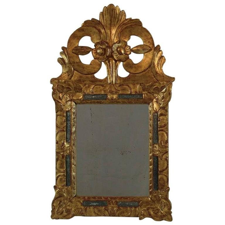 Small early 18th century french louis xiv baroque giltwood for Small baroque mirror