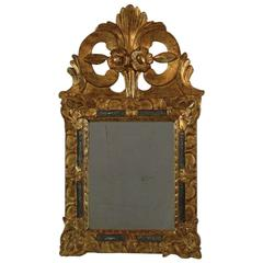 Small Early 18th Century French Louis XIV Baroque Giltwood Mirror