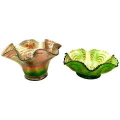 Antique Art Nouveau Set of Two American Iridescent Art Glass Ruffle Bowls