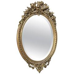 19th Century French Louis XVI Oval Gilded Mirror