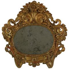 Small 18th Century Italian Baroque Giltwood Mirror