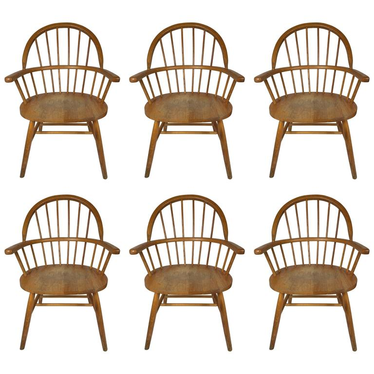 Set of Six Danish Windsor Style Dining Chairs