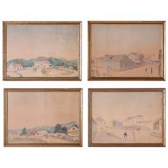 Rare Folky Watercolor Drawings on Paper by L.J. Harboe, Priced Individually