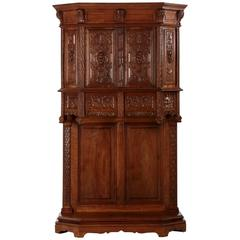 Gothic Revival Carved Walnut French Cupboard, circa 1880