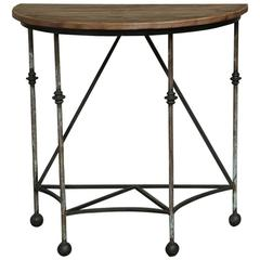 Antique Wrought Iron and Wood Demilune Console