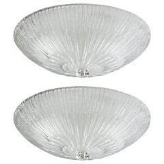 Pair of Murano 1950s Flush Mount Ceiling Fixtures