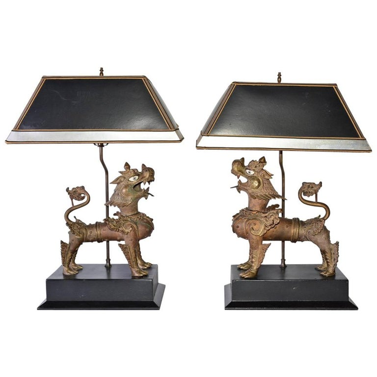 Pair of Chinese Brass Foo Dog Table Lamps