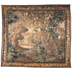 18th Century French Verdure Aubusson Tapestry with Castle, Ship and Bird