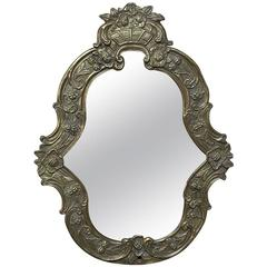 19th Century Embossed Brass Mirror