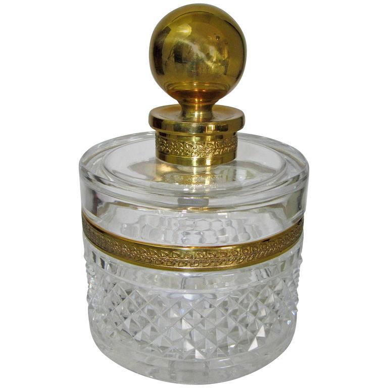 Vintage Cristal Et Bronze of Paris Cut Crystal Lidded Jar For Sale