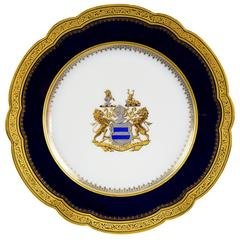 19th Century Sèvres Cobalt Blue Gilt Heraldic Porcelain Cabinet Plate