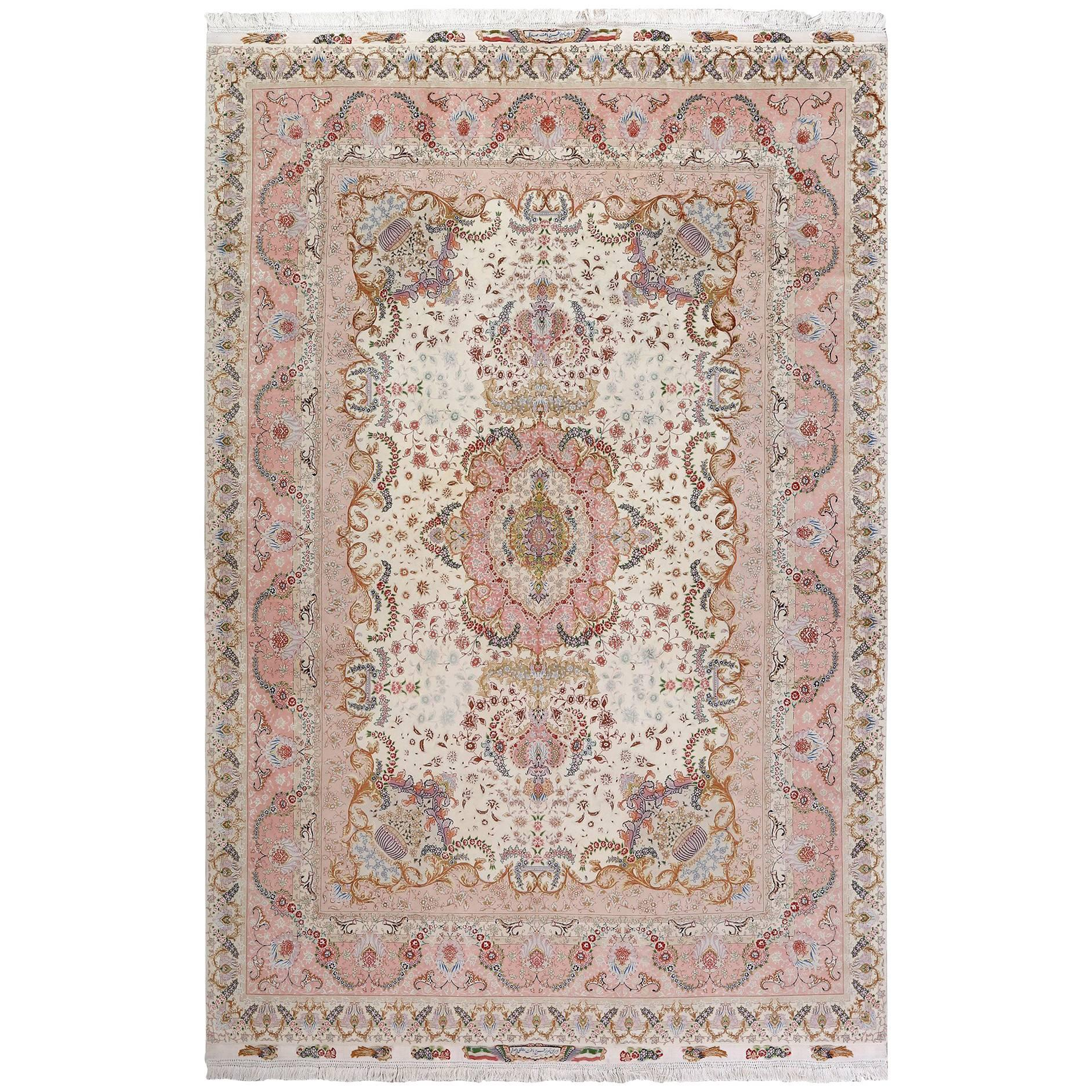 Fine Ivory Vintage Tabriz Persian Rug. Size: 8 ft 2 in x 12 ft 1 in