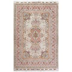Fine Ivory Vintage Tabriz Persian Rug